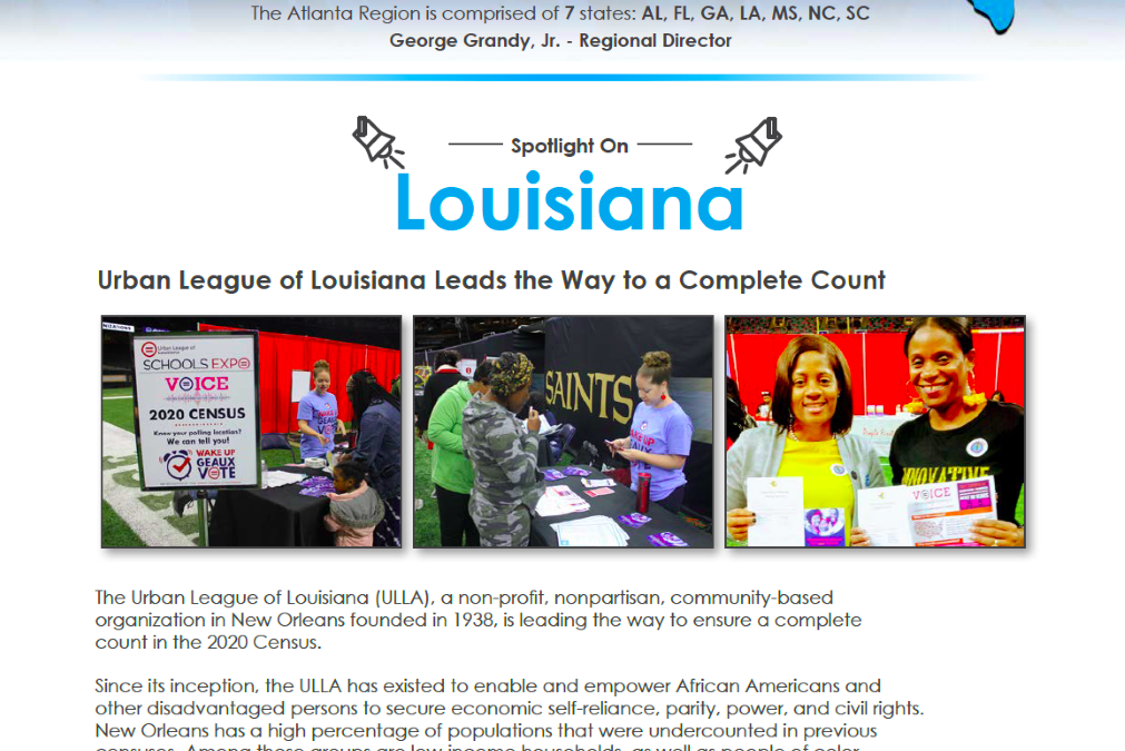 Urban League of Louisiana featured in Census Newsletter
