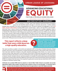 Advancing Educational Equity for Public Schools in New Orleans 2020 Executive Summary